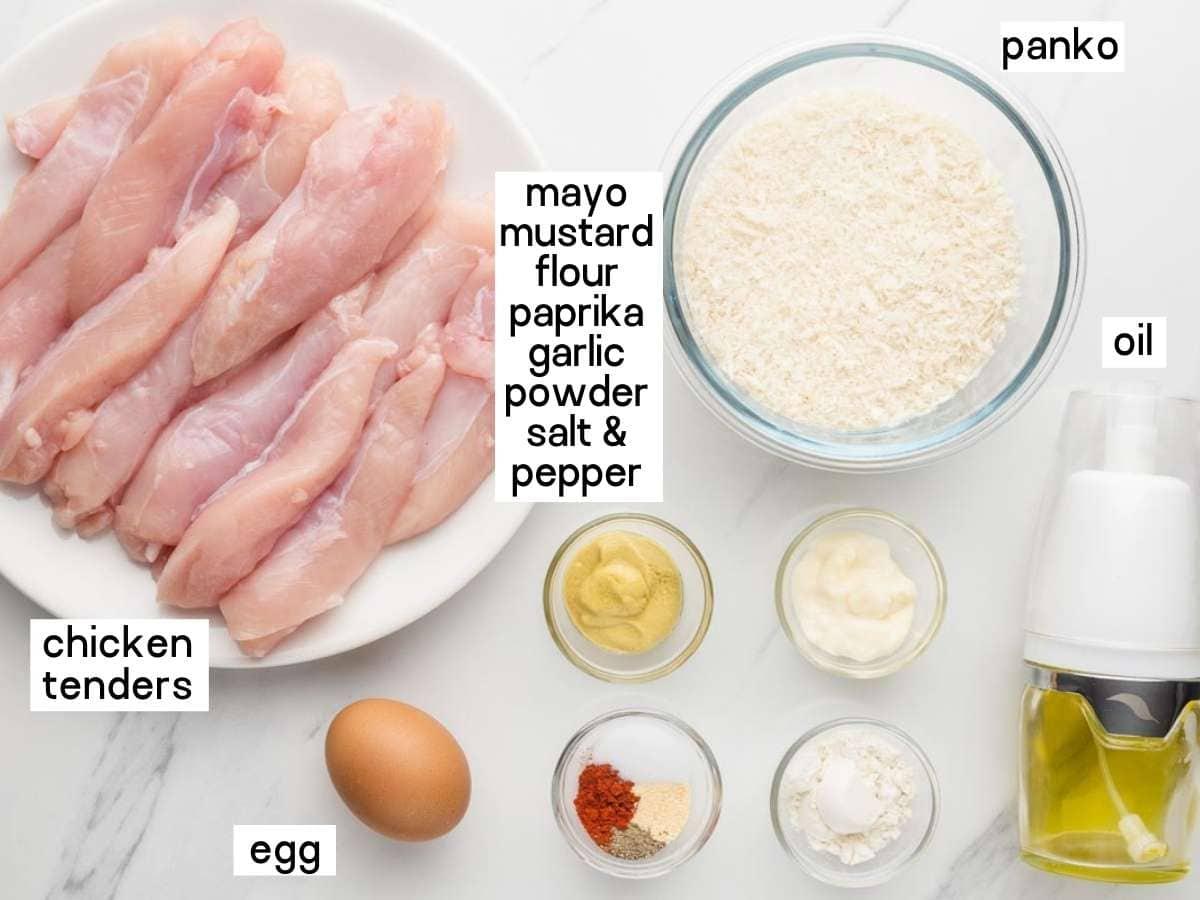 Ingredients needed to make baked chicken tenders