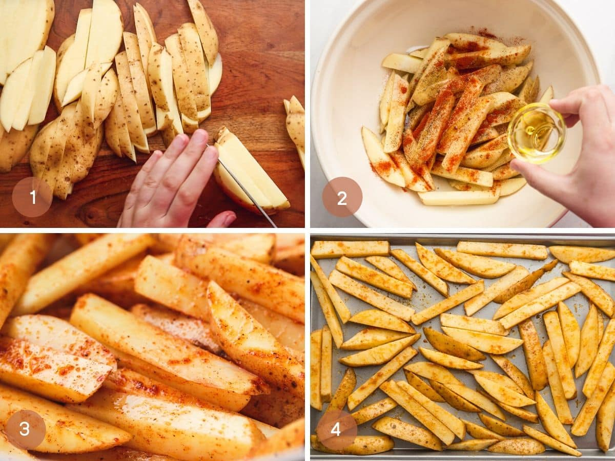 Steps on how to make baked fries