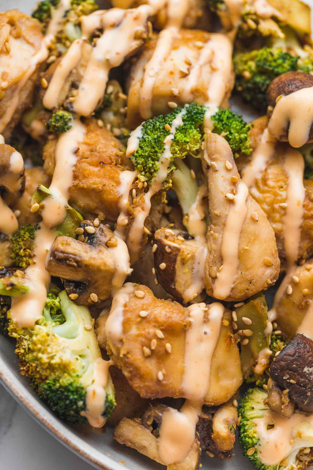 Chicken and broccoli drizzled with creamy chili mayo sauce