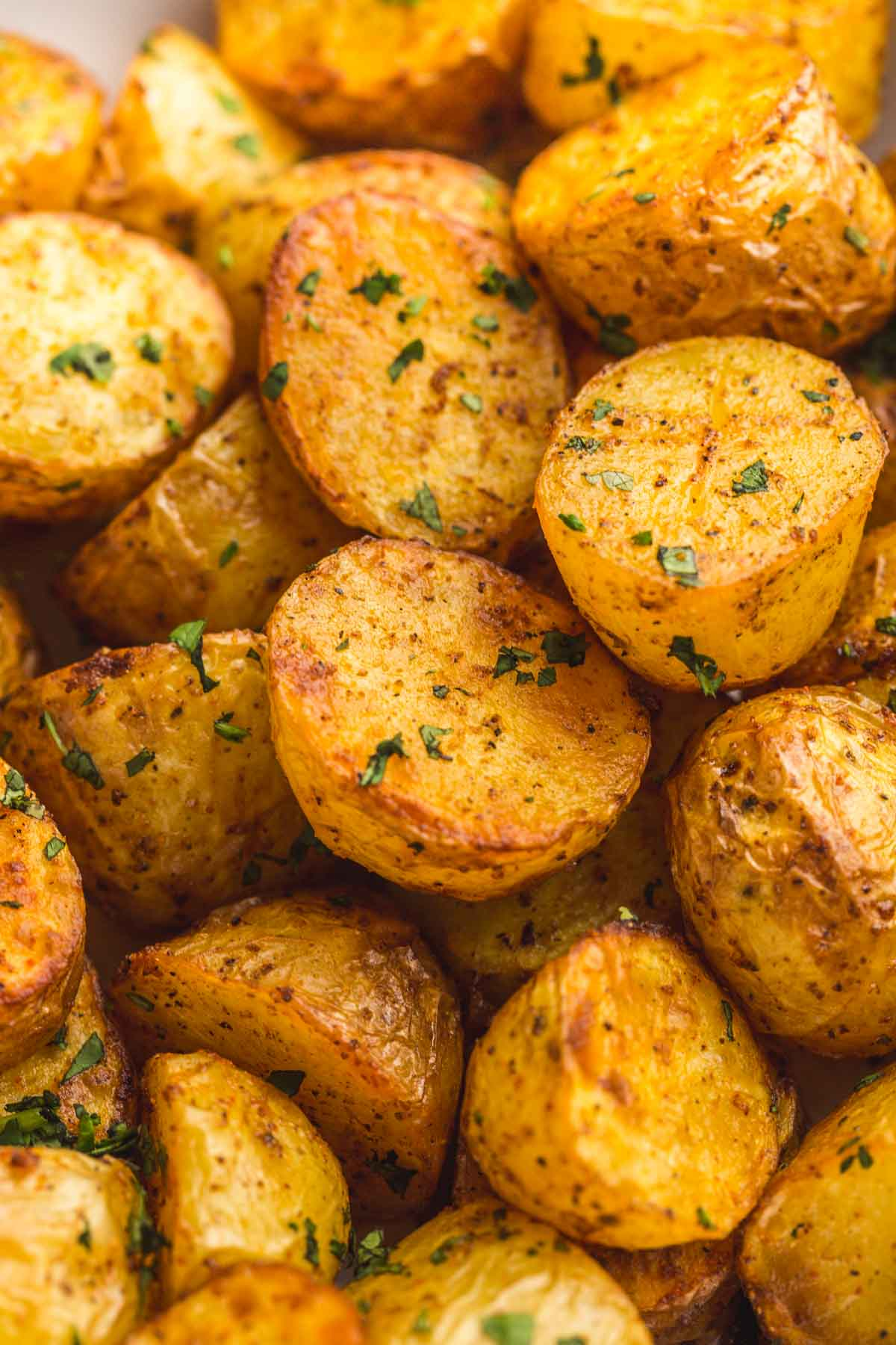 Close up shot of the roasted potatoes