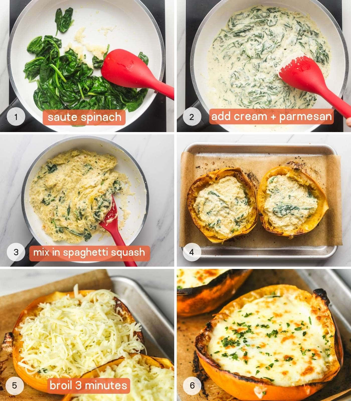 How to make cheese and spinach stuffed spaghetti squashes