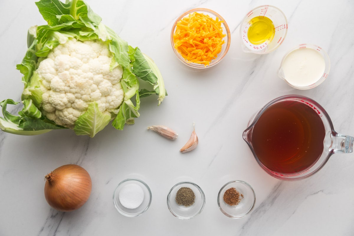 Ingredients needed to make instant pot cauliflower soup