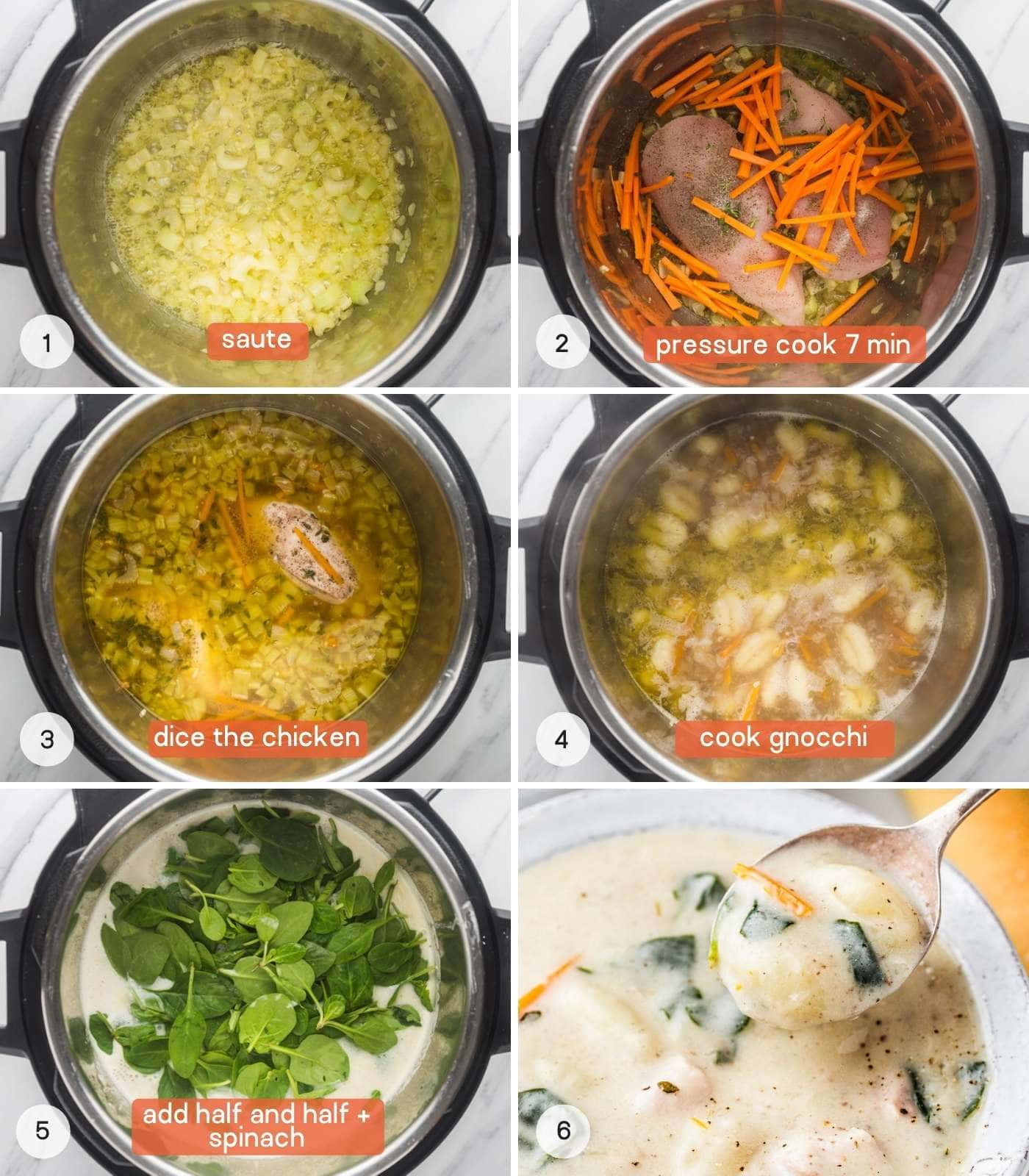 How to make chicken gnocchi soup in the Instant Pot, a collage with 6 images