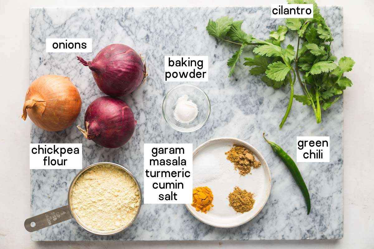 Ingredients needed to make onion bhaji