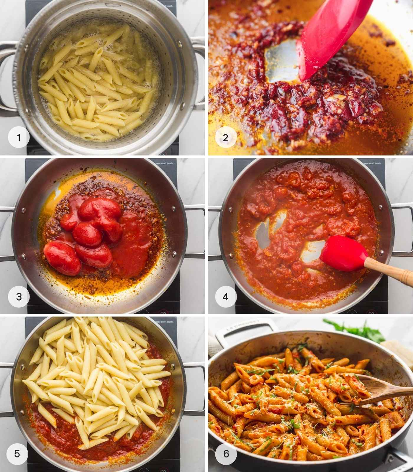 Steps on how to cook penne arrabbiata, a collage with 6 images