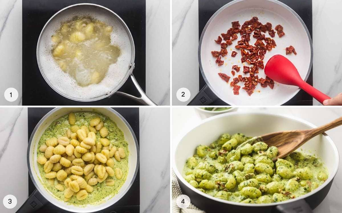How to make pesto gnocchi, a collage of 4 images with steps.