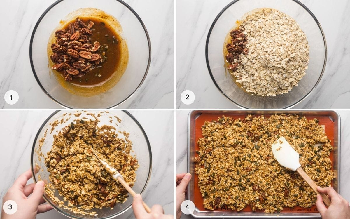 A collage with 4 images on how to make granola