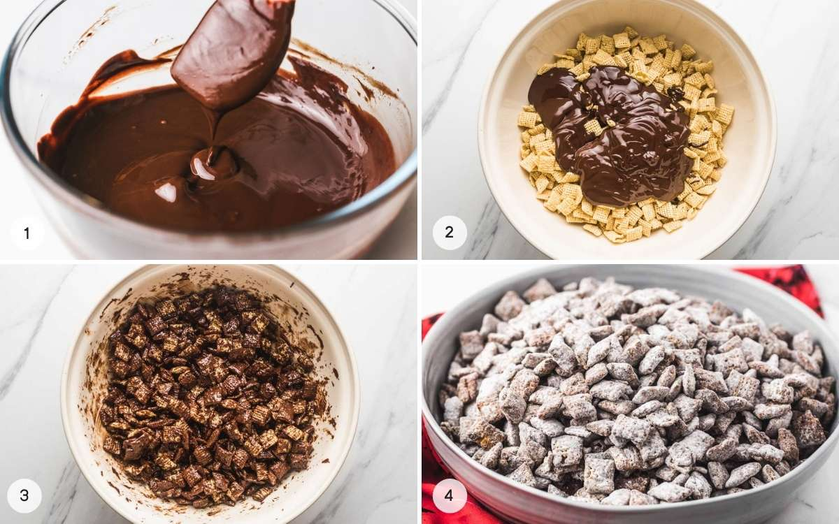 A collage with 4 images on how to make muddy buddies.