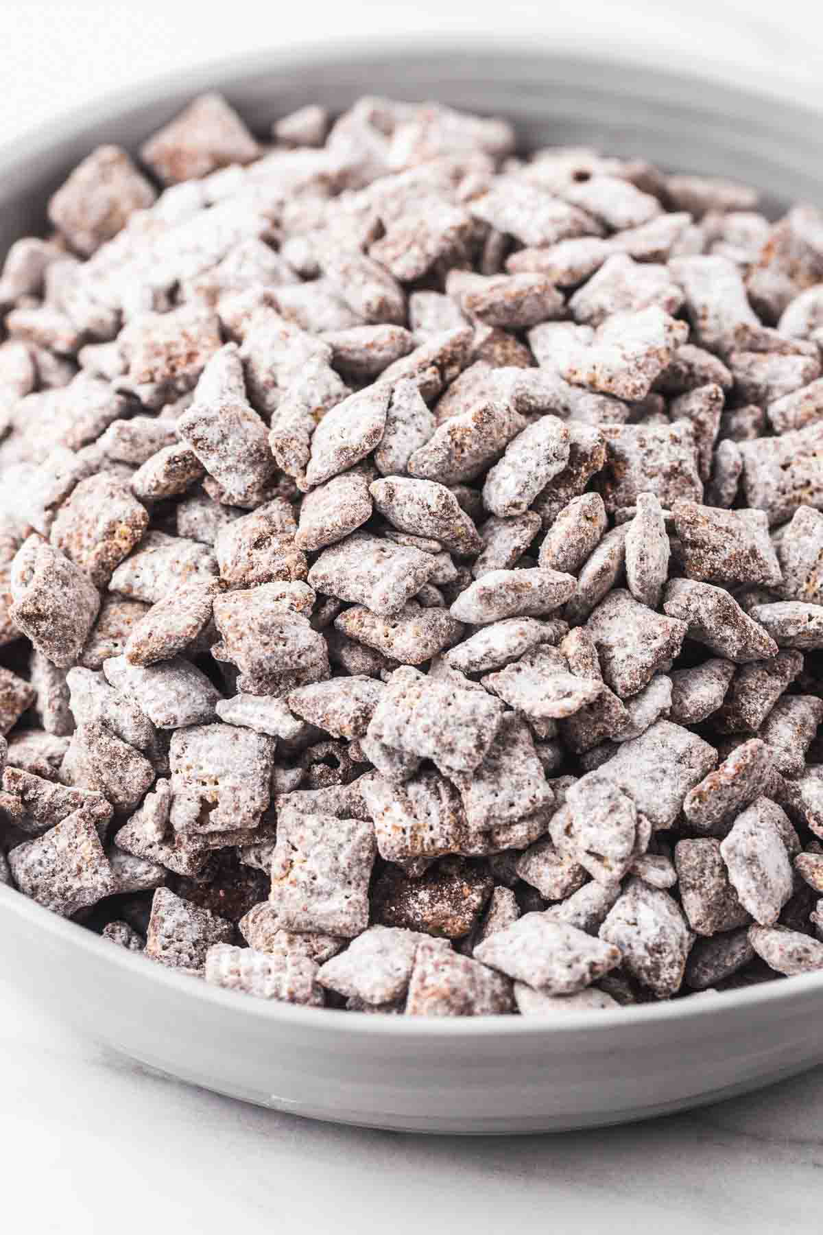 Puppy chow served in a large gray bowl