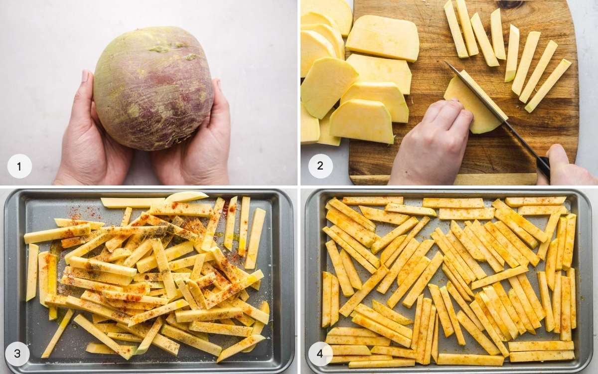 How to make rutabaga fries - a collage with 4 images