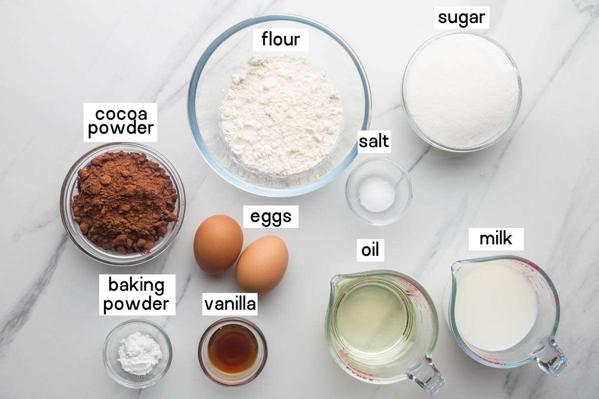 Ingredients needed to make chocolate cupcake base
