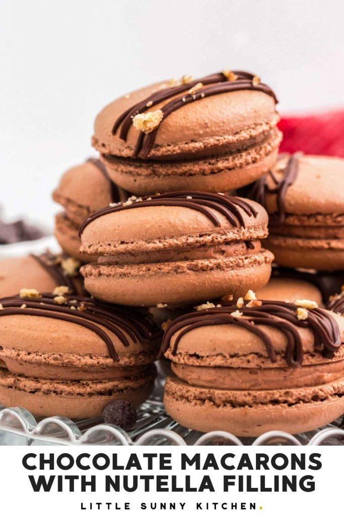 Chocolate macaron pinnable image