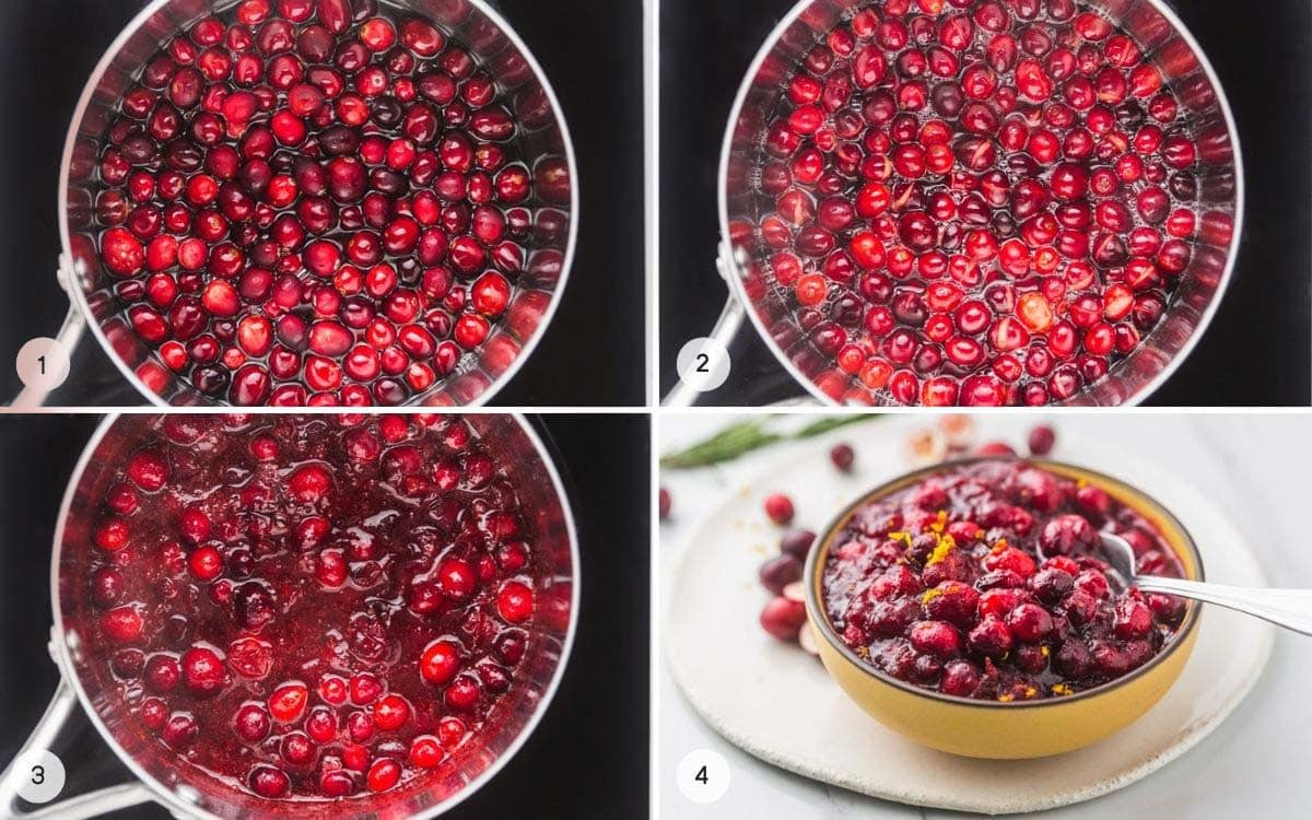 A collage with 4 images on how to make cranberry sauce