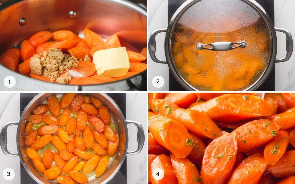 A collage with 4 images how to make glazed carrots