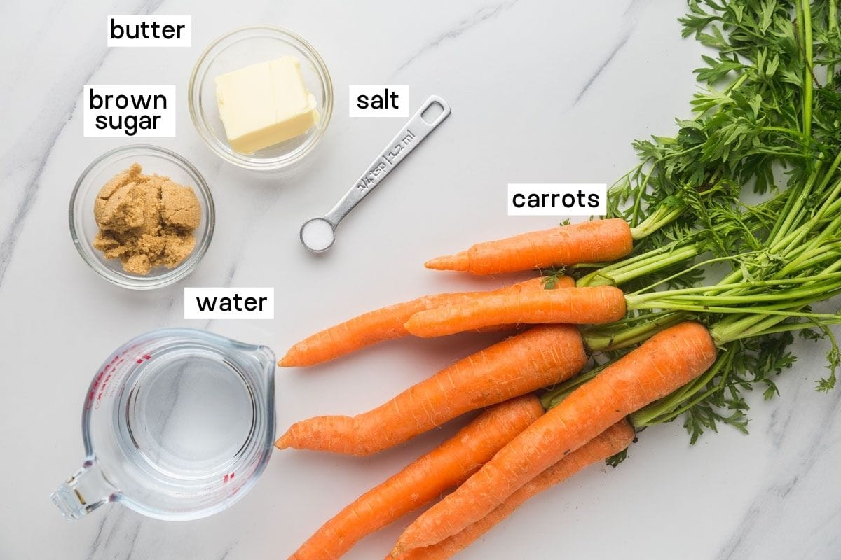 Ingredients required to make glazed carrots