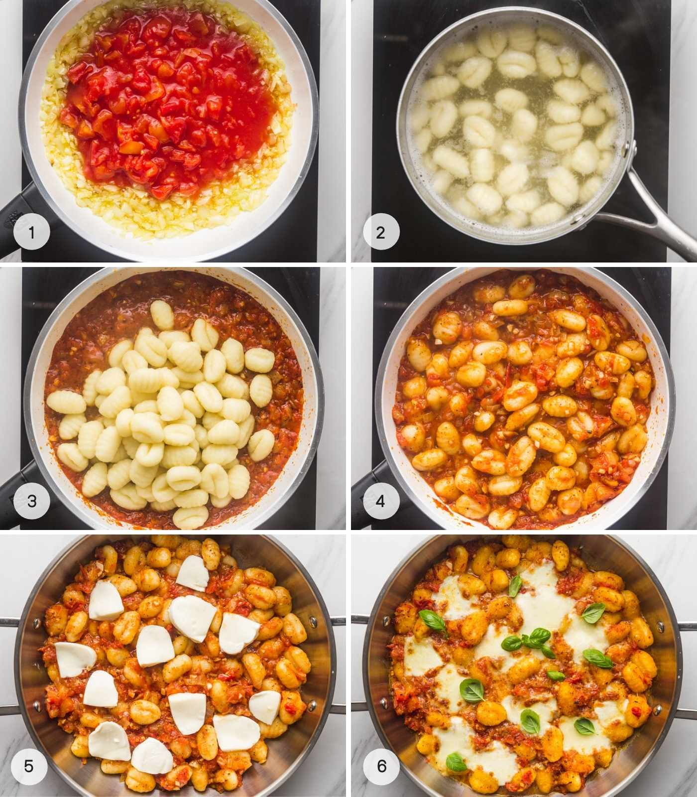 Steps how to make gnocchi sauce al pomodoro, a collage with 5 images