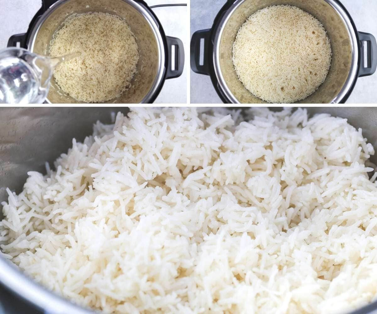 A collage of 3 images on how to cook rice in the instant pot