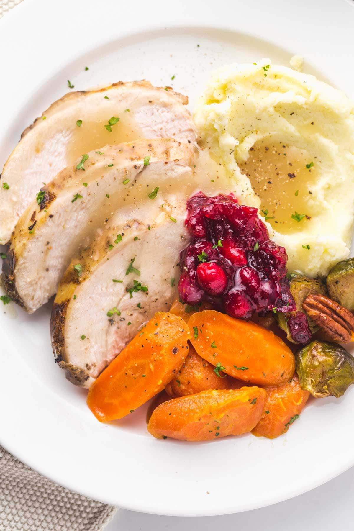Plated turkey sliced with mashed potatoes, cranberry sauce, and glazed carrots