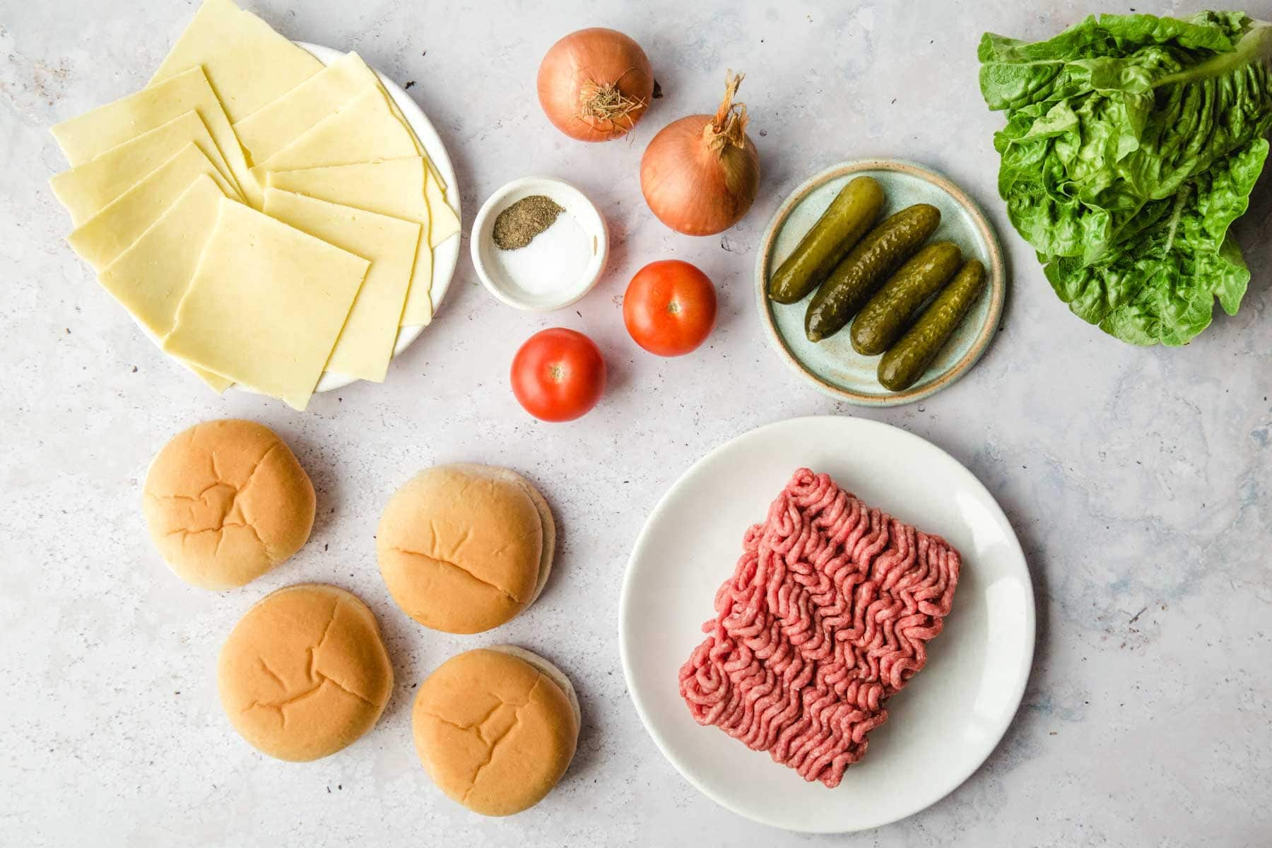 Ingredients needed to make hamburgers