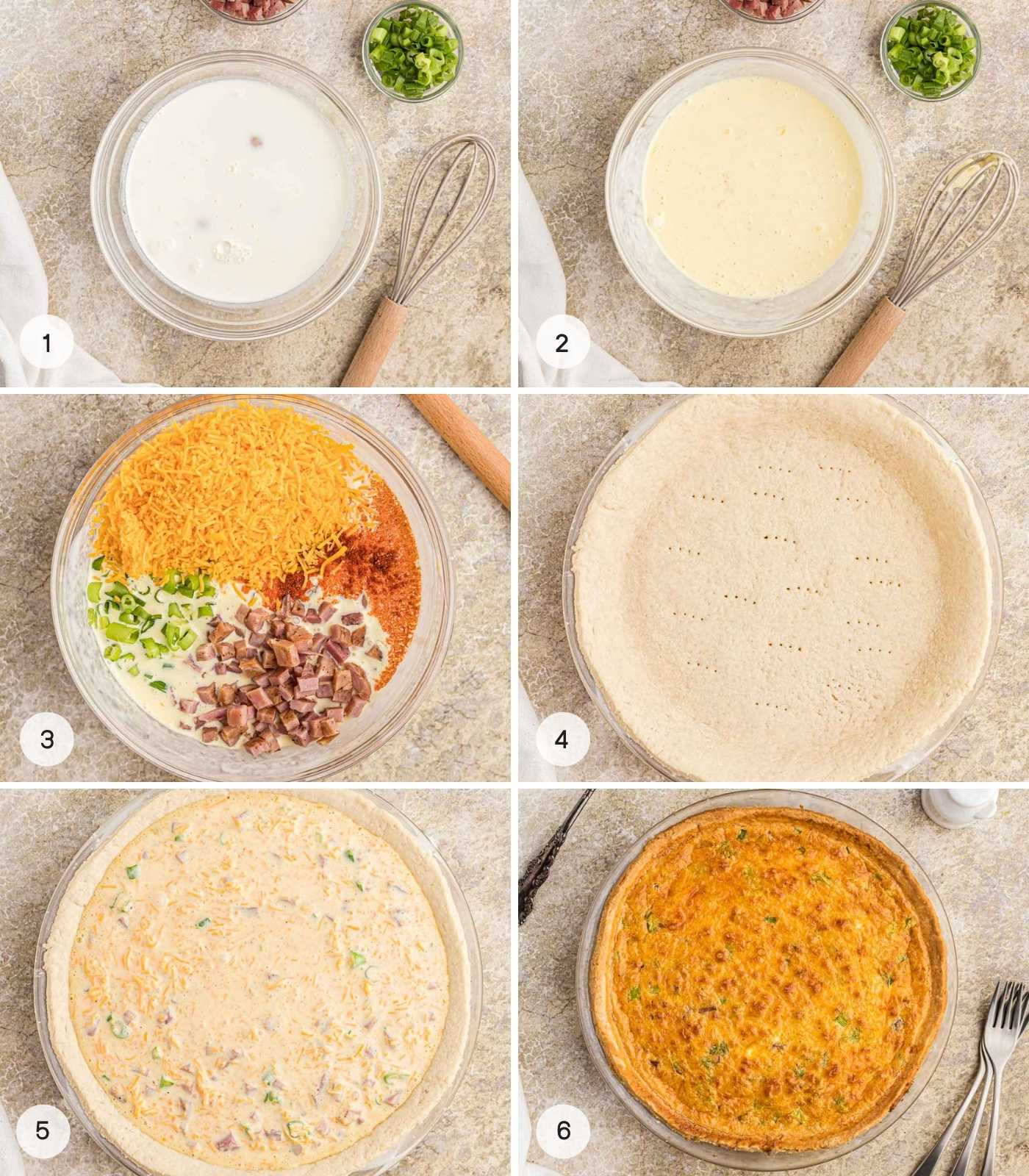 A collage with 6 images showing steps how to make cheese and ham quiche