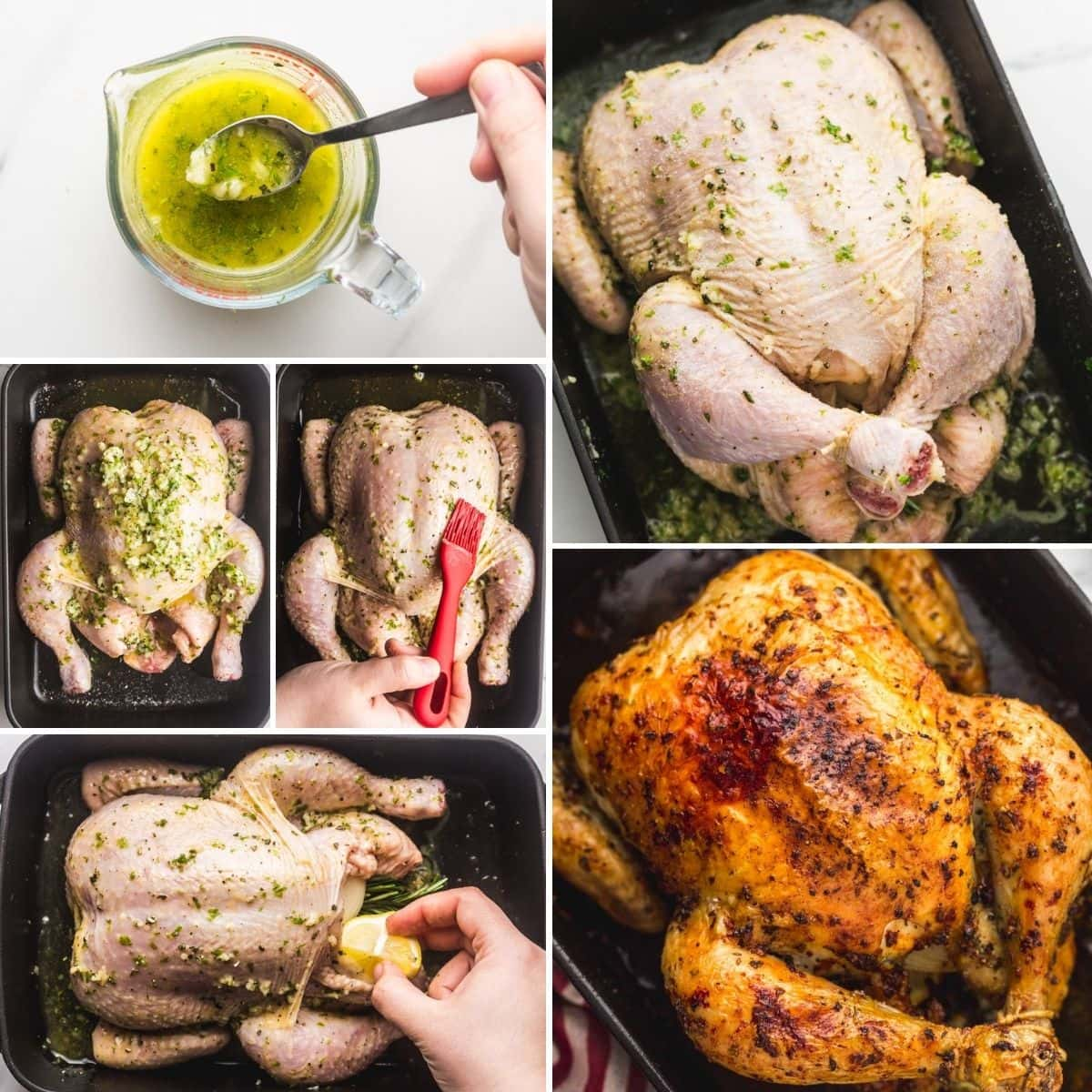 A collage on how to make herb butter, prep the chicken, and roast it.
