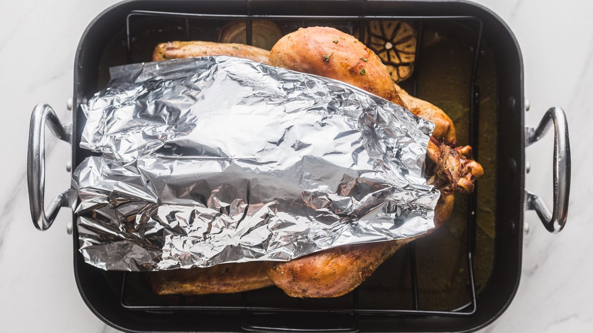 Protecting a turkey breast for over-browning with foil