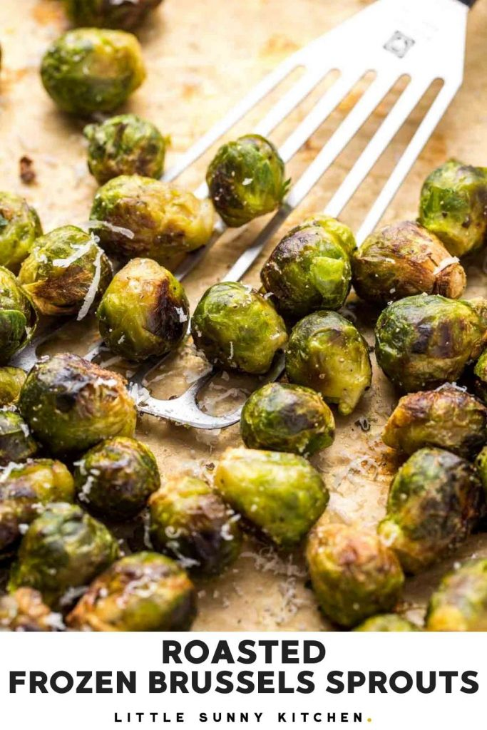 Roasted frozen brussels sprouts Pinnable image