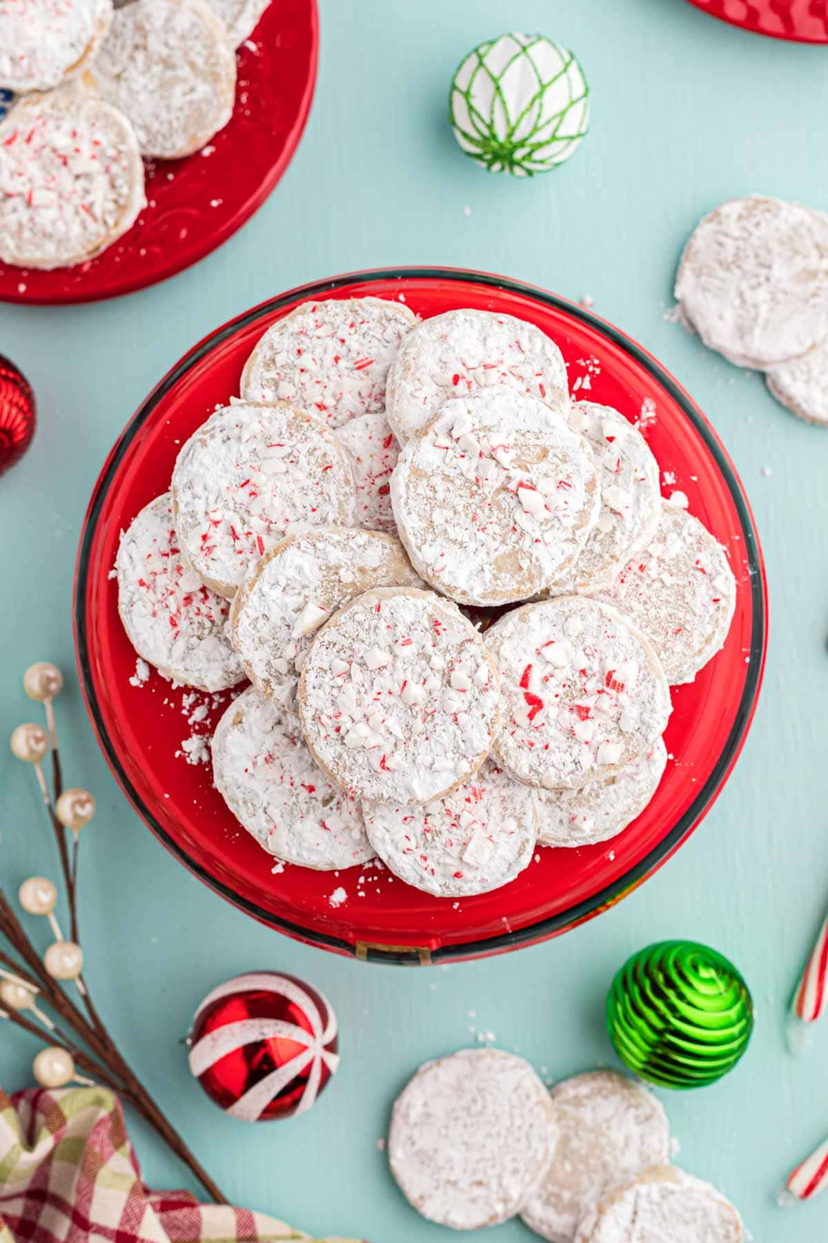 Rum cookies served on a festive red plate