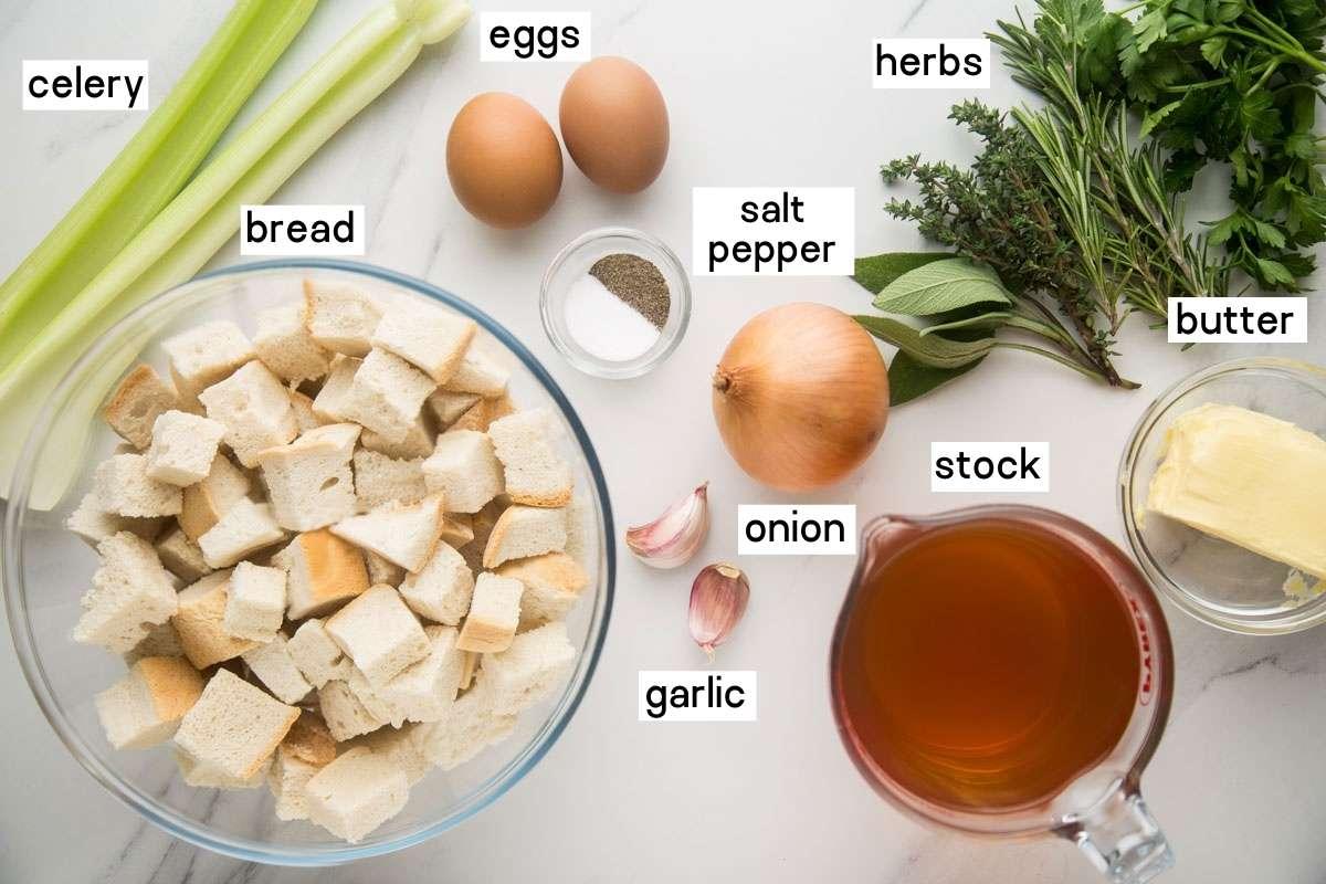 ingredients needed to make thanksgiving stuffing