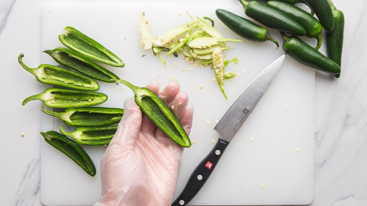 Prepping the jalapenos