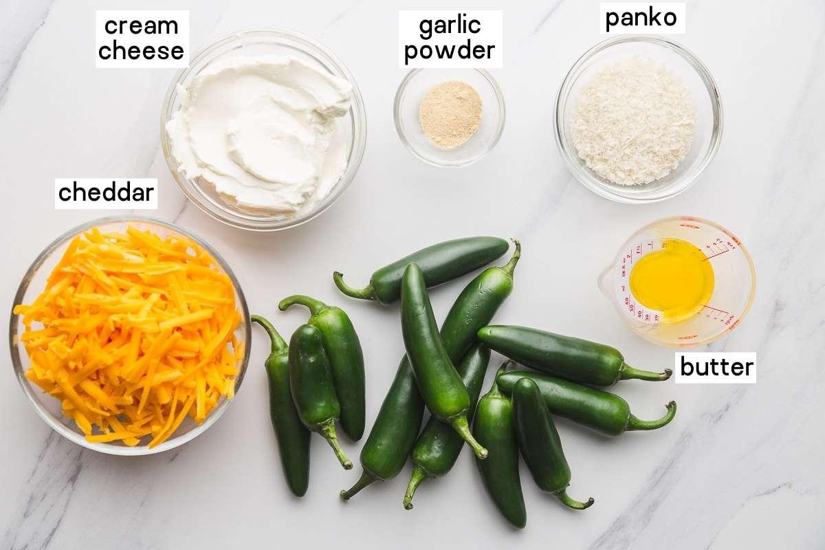Ingredients needed to make Air Fryer Jalapeño Poppers