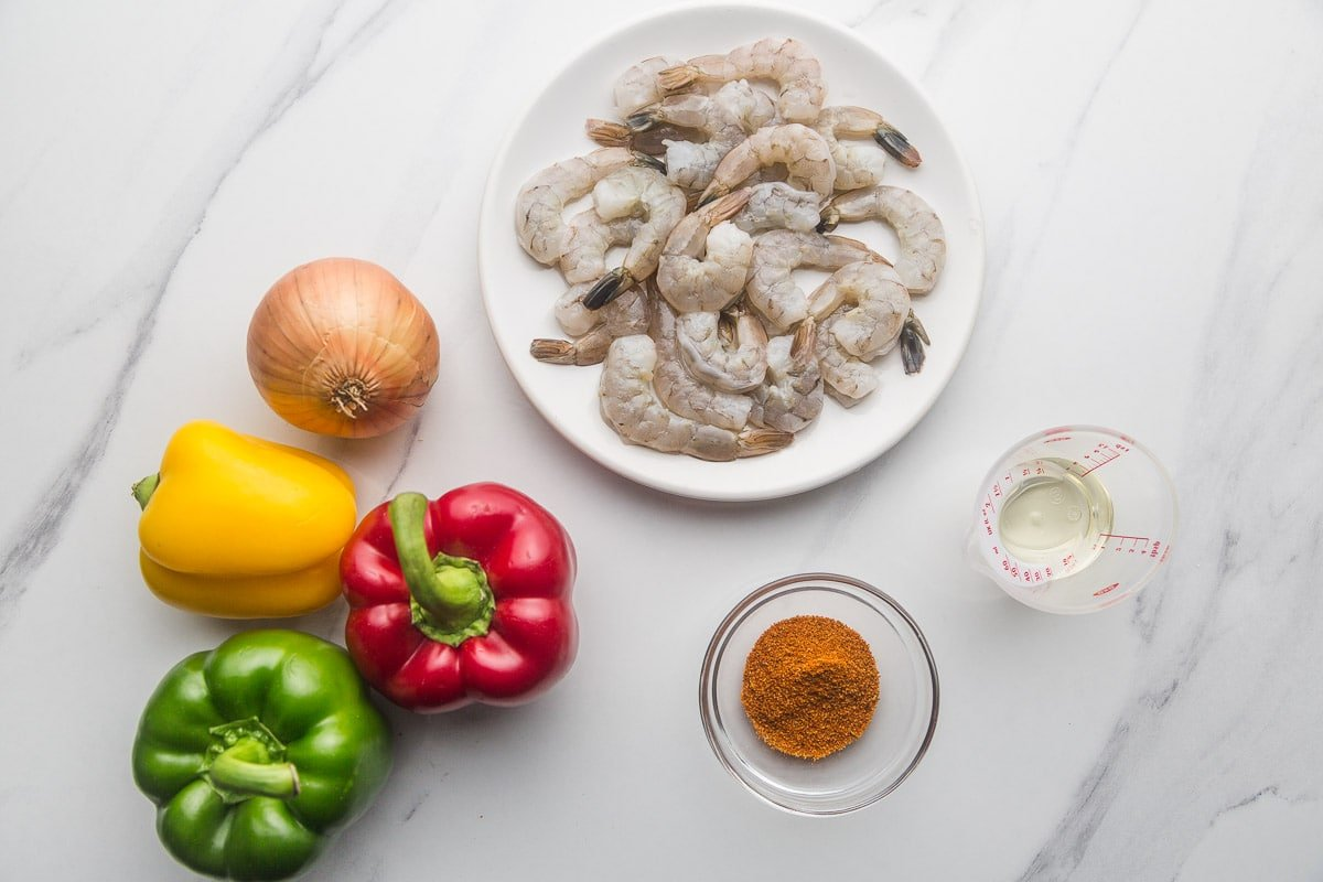 Ingredients needed to make shrimp fajitas