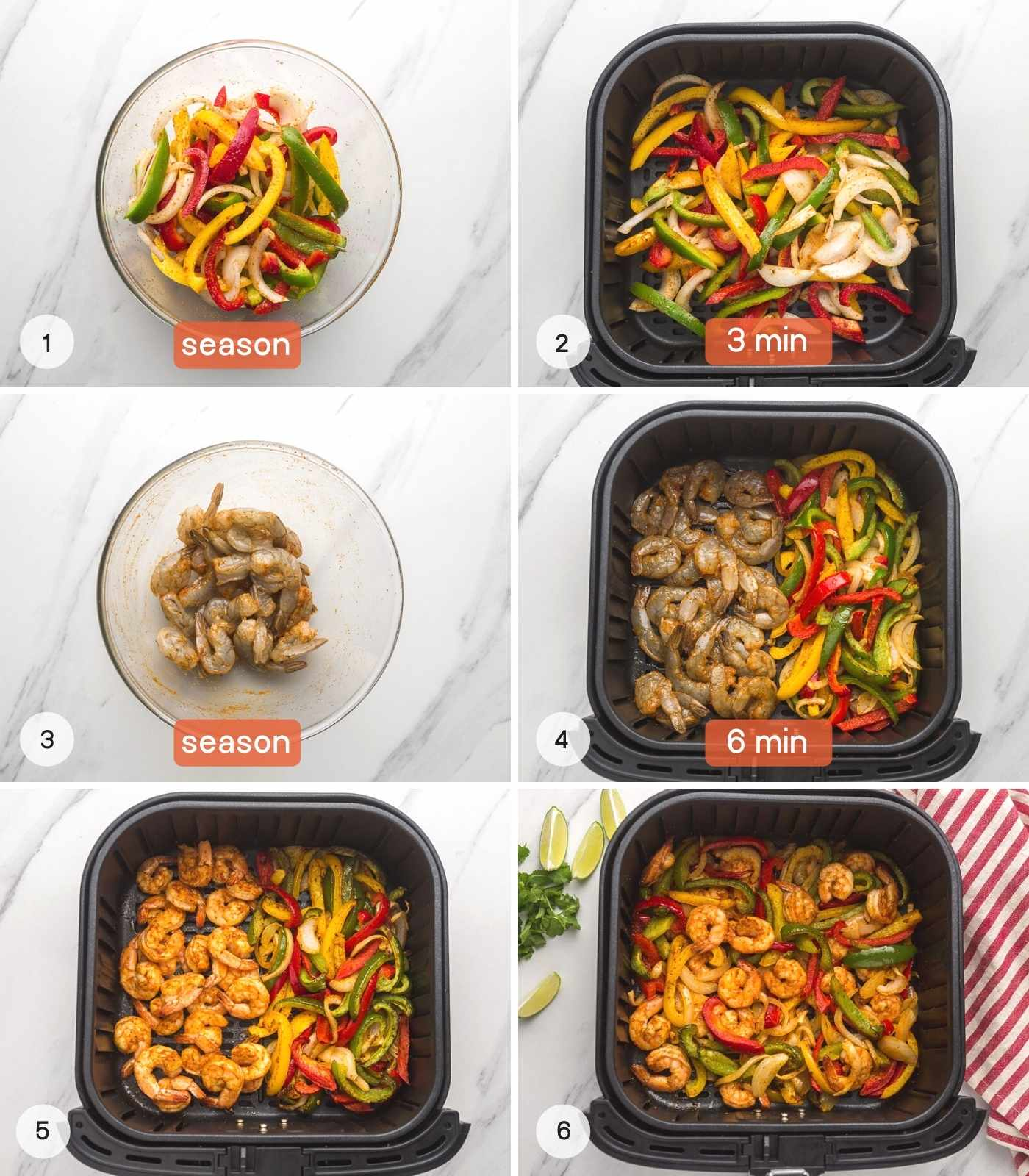 A collage with 6 images on how to make air fryer shrimp fajitas