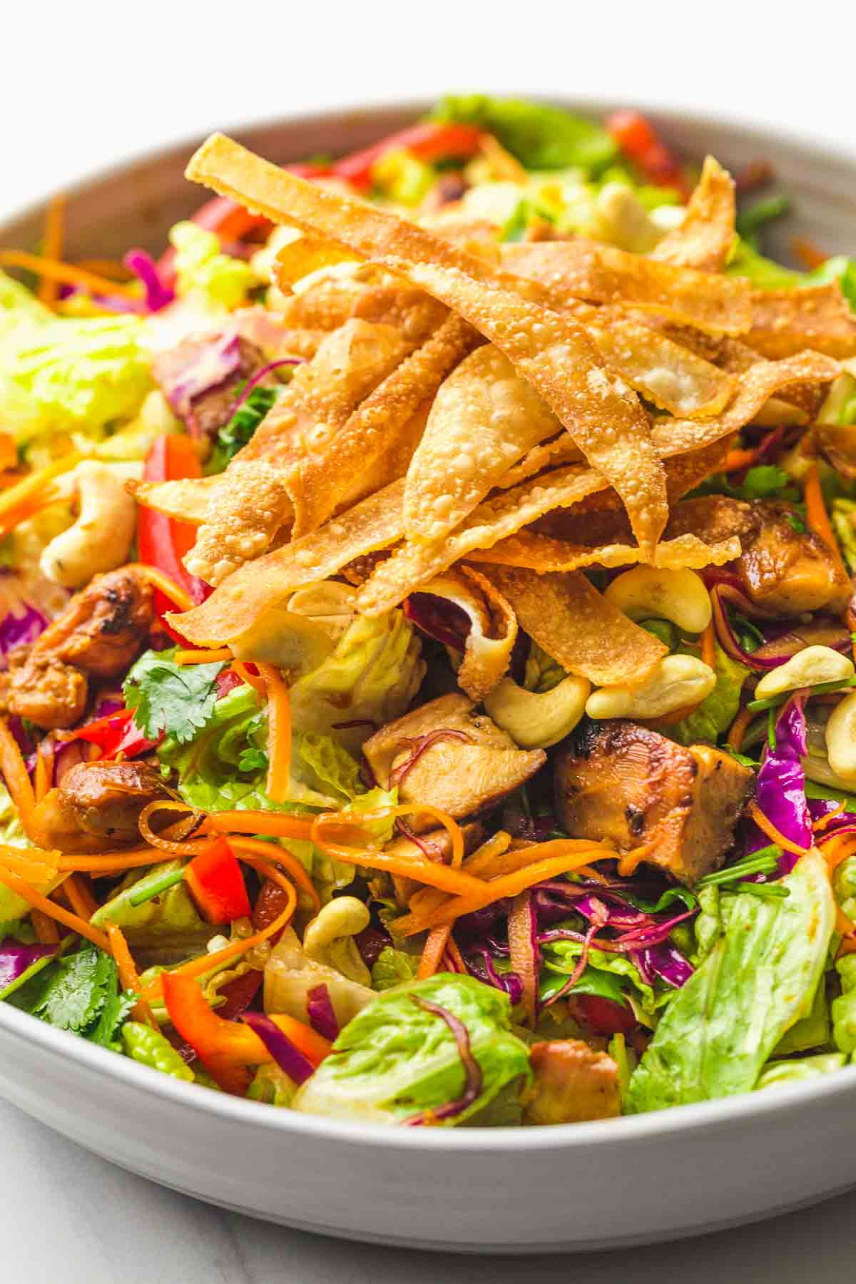 Asian Chicken Salad with homemade Wonton chips served in a large salad bowl