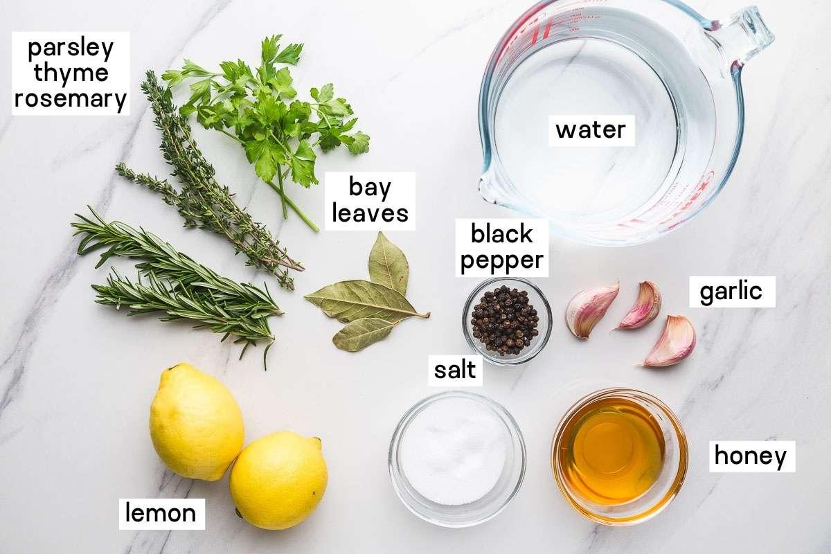 Ingredients needed to brine a whole chicken or chicken parts