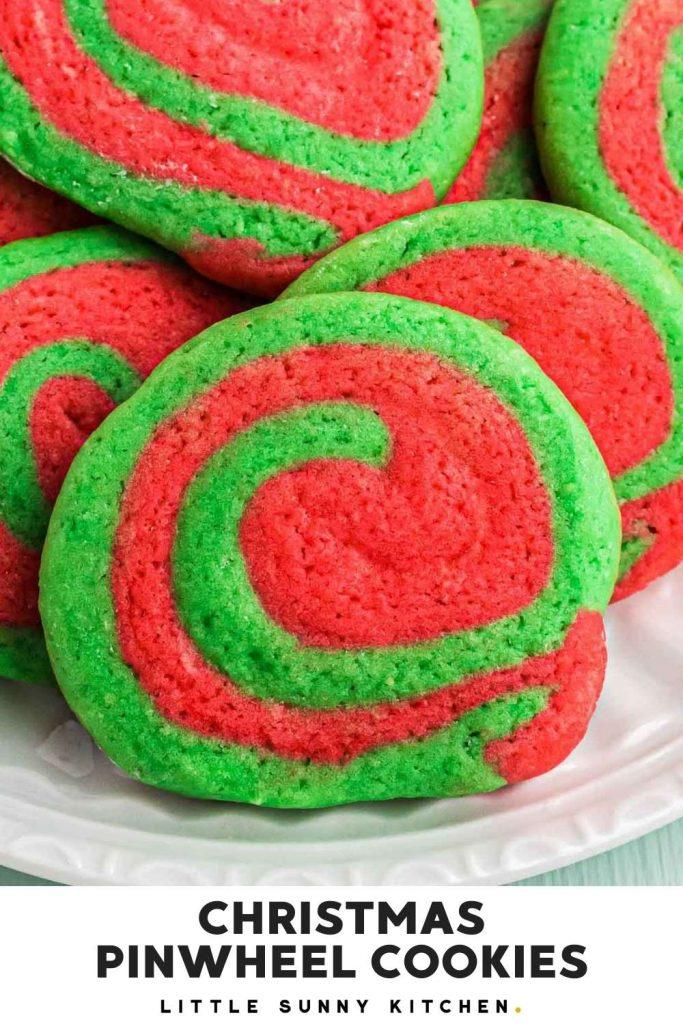 Christmas pinwheel cookies pinnable image