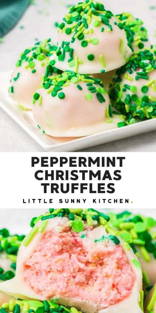 Easy christmas truffles pinnable image