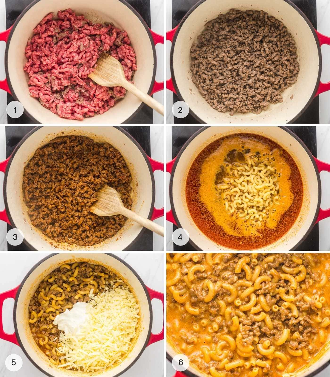 A collage with 6 images showing how hamburger helper is made.