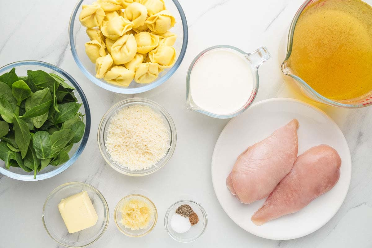Ingredients needed to make Chicken Alfredo Tortellini Soup