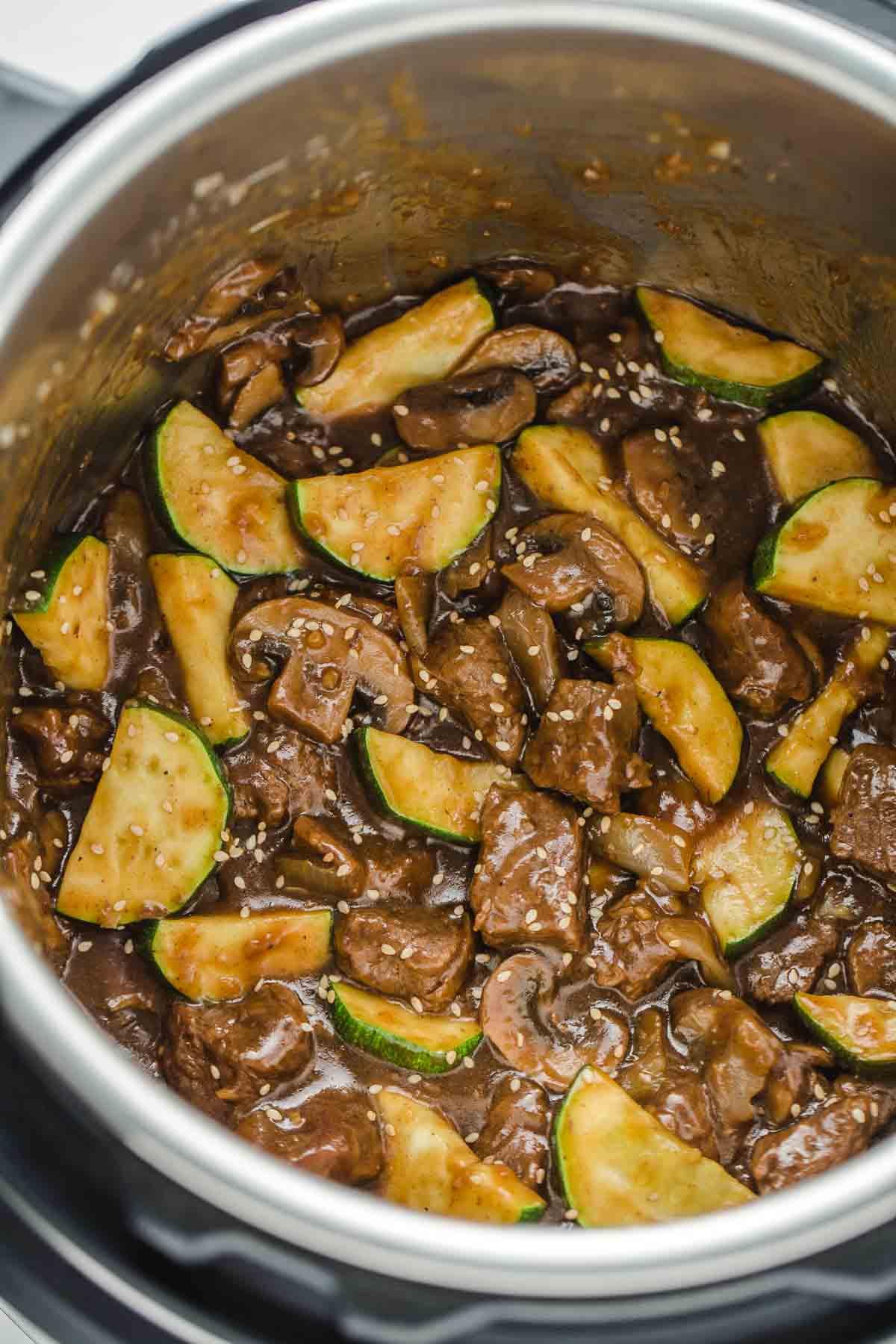 A close up shot of hibachi steak done in the instant pot