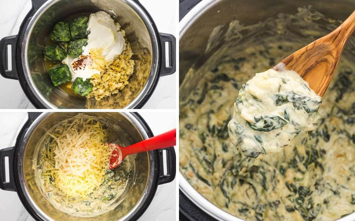 A collage with 3 images on how to make spinach artichoke dip in the Instant Pot