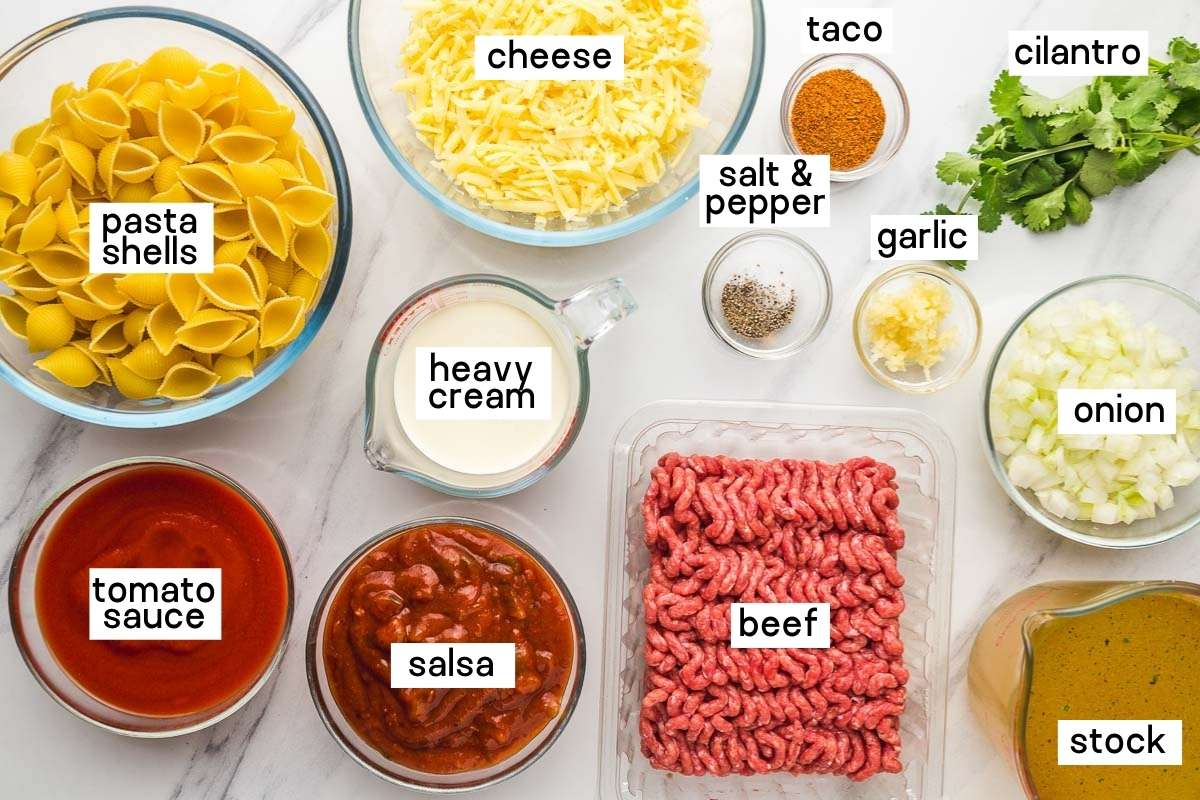 Ingredients needed to make taco pasta