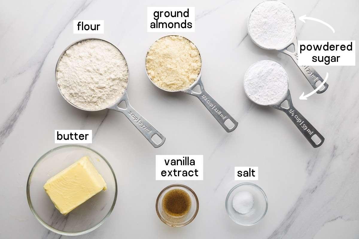 Ingredients needed to make Italian wedding cookies