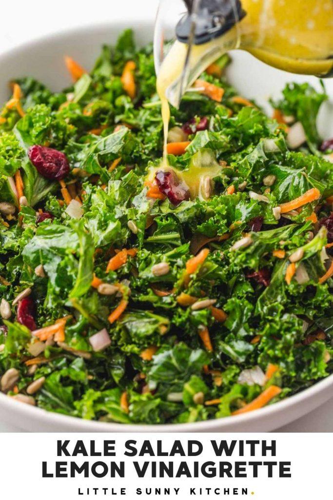 Kale Salad with lemon vinaigrette Pinnable image