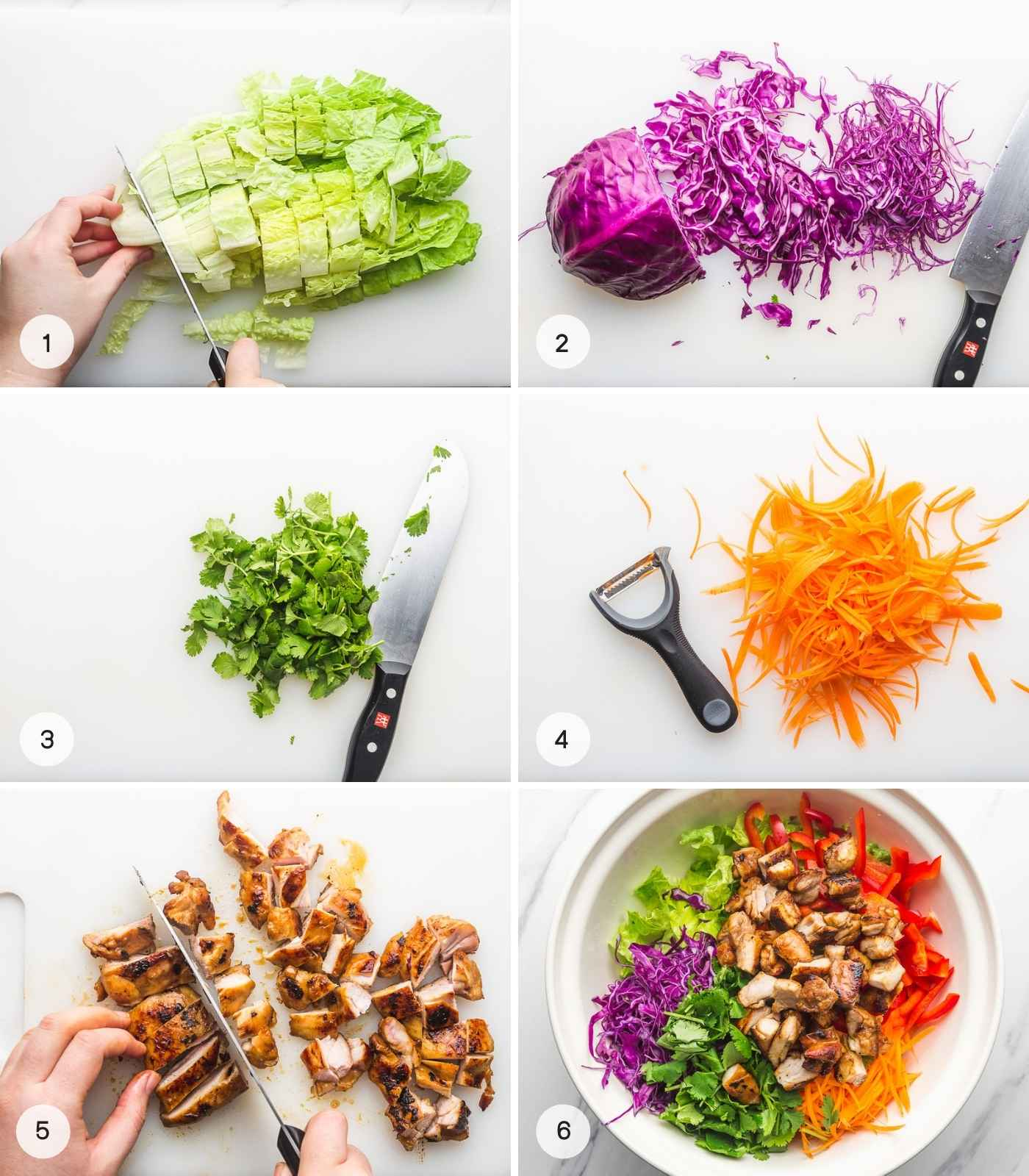 A collage with 6 images on how to make Asian chicken salad, from shredding the vegetables to chopping the chicken and making the salad.