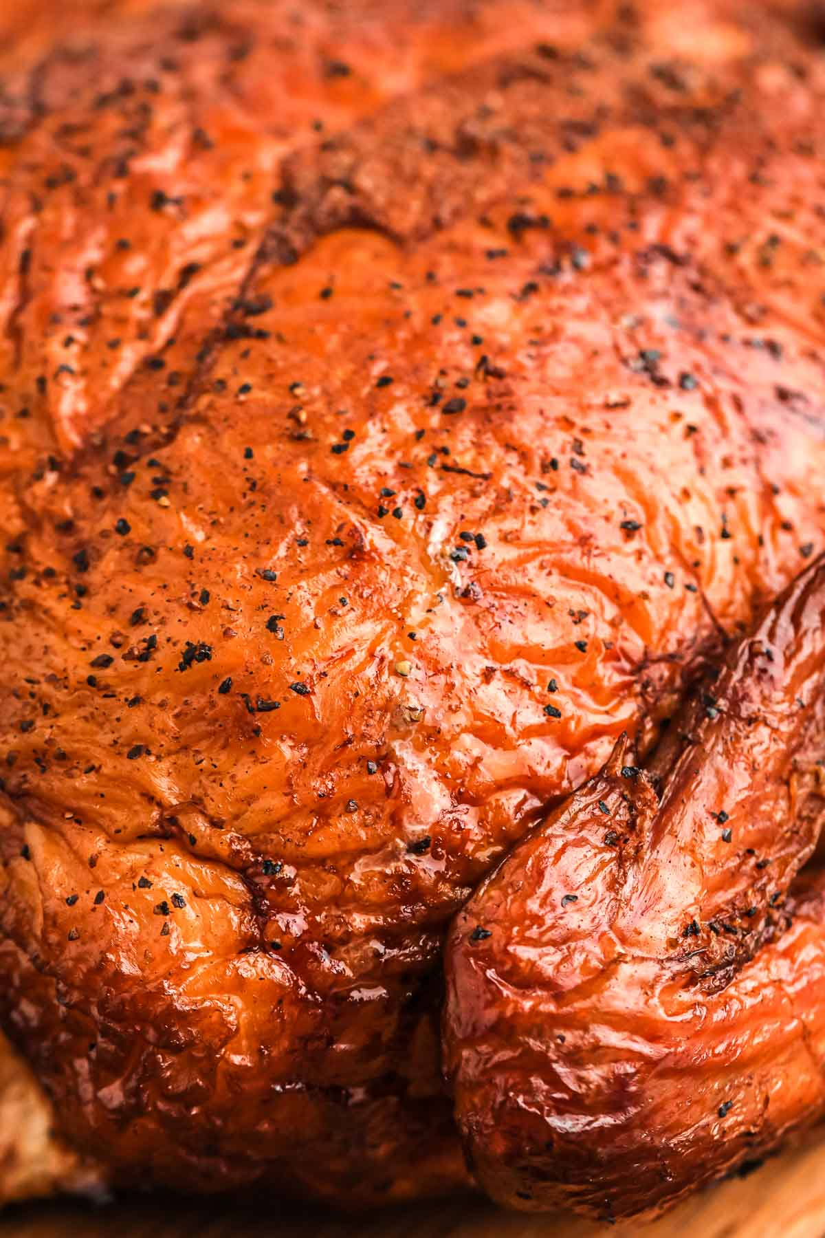 Close up shot of the smoked chicken crispy skin
