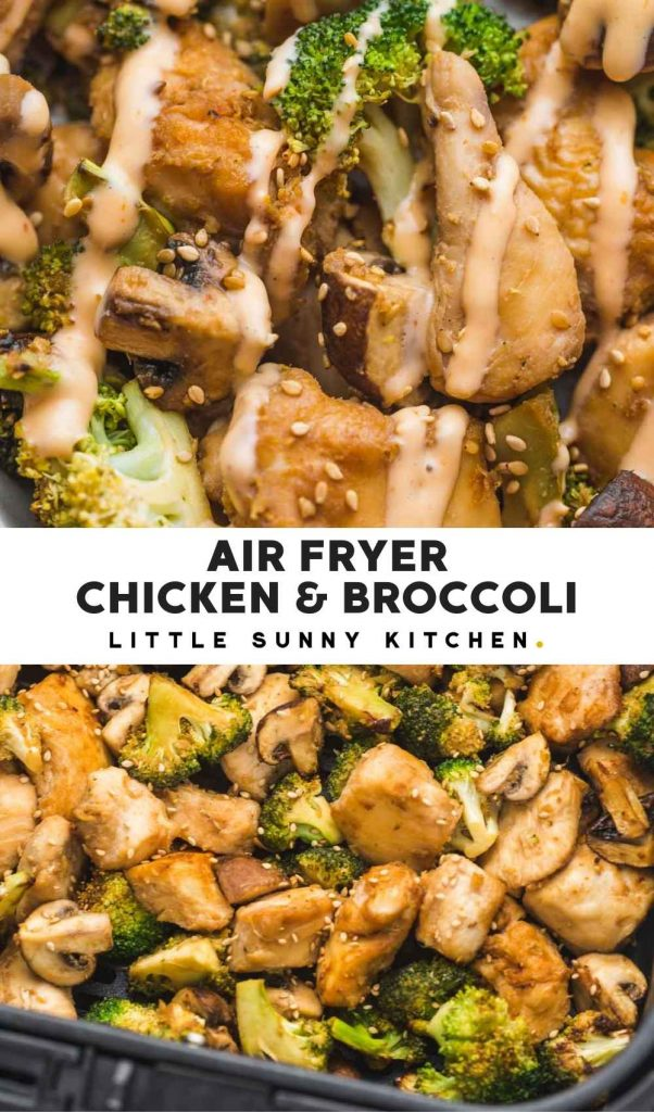 Air Fryer chicken and broccoli pinnable image