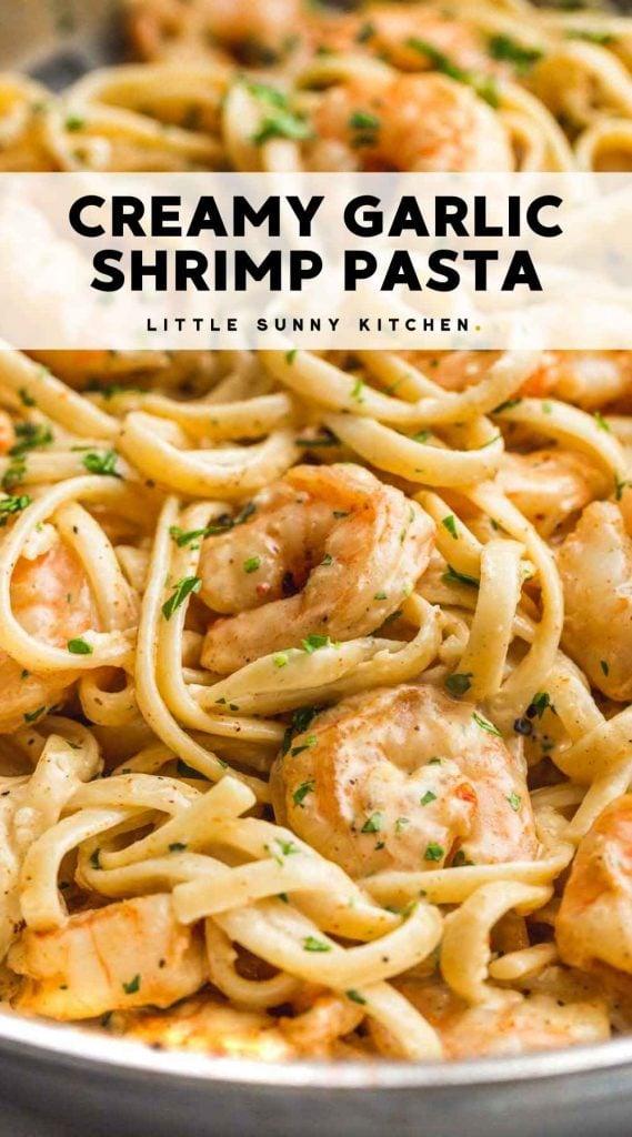 Creamy Garlic Shrimp Pasta Pinnable image