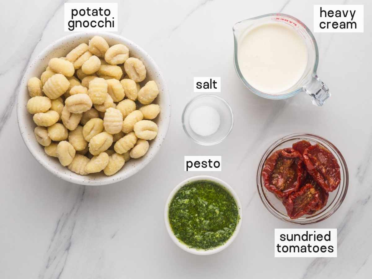 Ingredients needed to make creamy pesto gnocchi