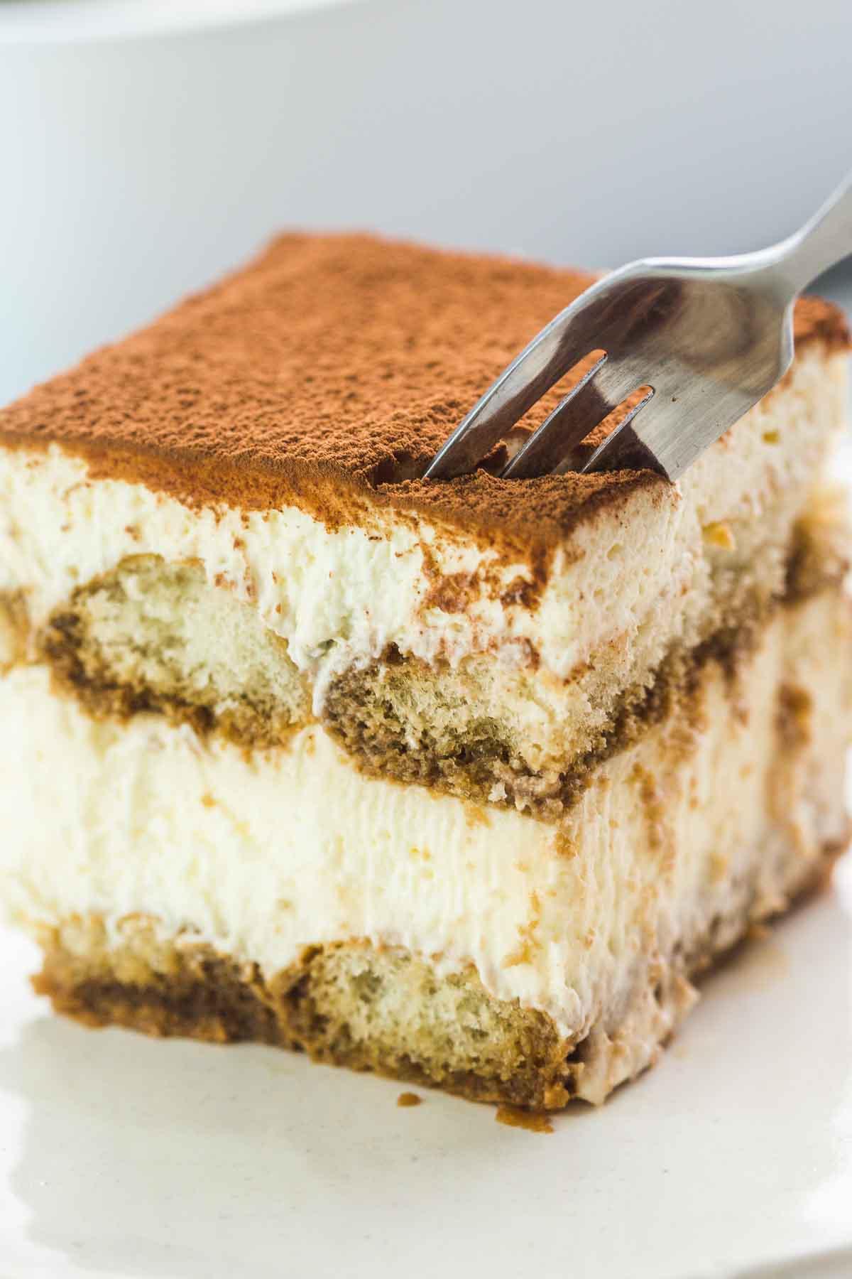 Close up shot of a slice of tiramisu cake, with a fork.
